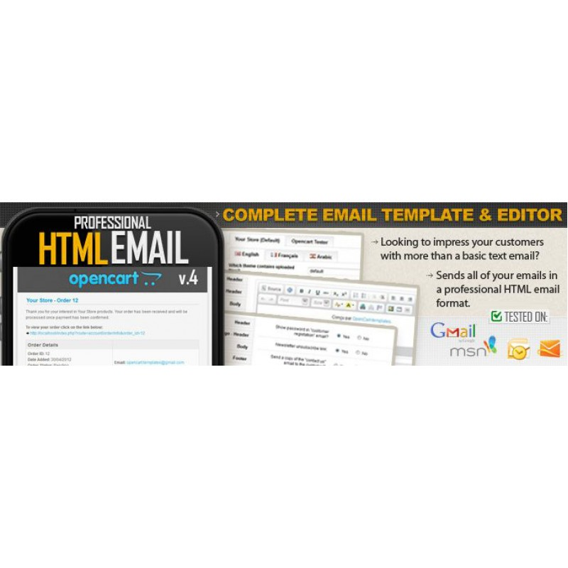 Professional Opencart Email HTML and Editor