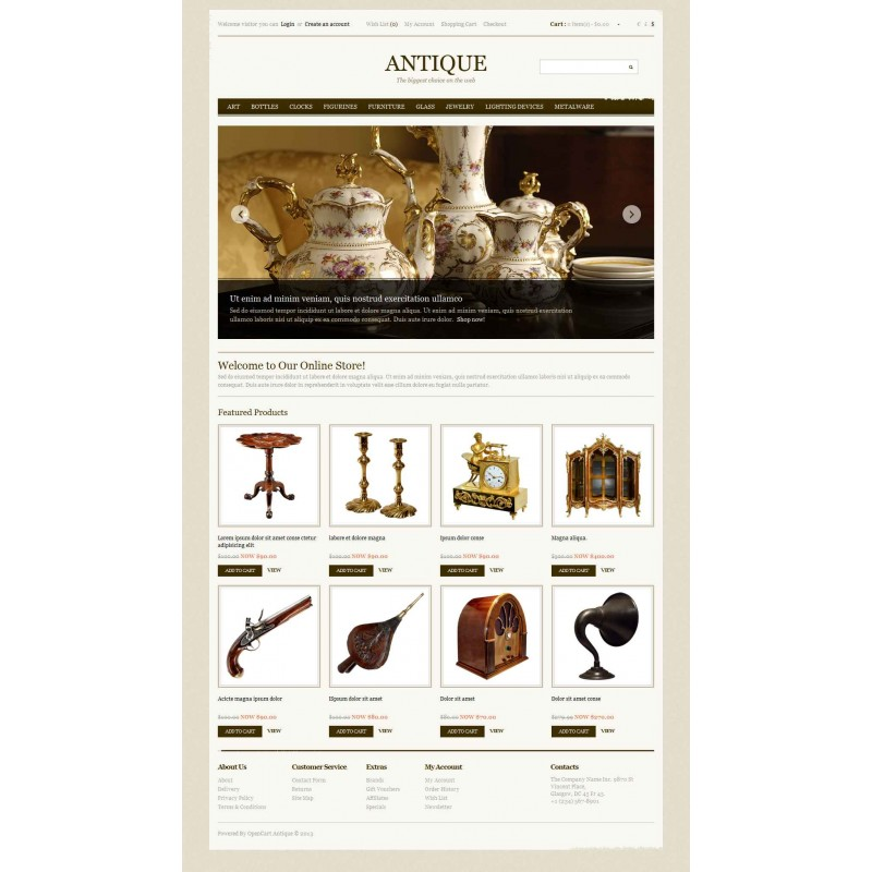 Antique OpenCart Template Monster