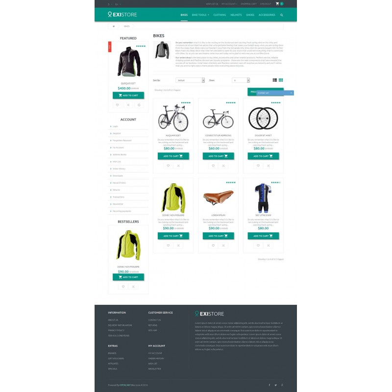 Existore(Bike Store) - OpenCart Theme