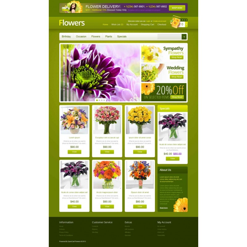 Flowers OpenCart Template Monster