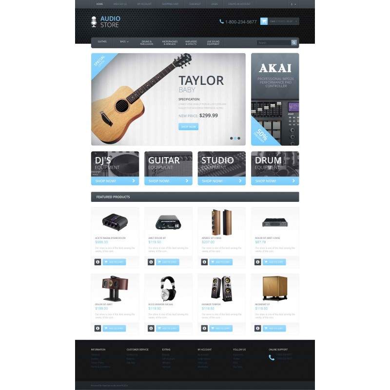 Audio store - Responsive OpenCart Template Monster