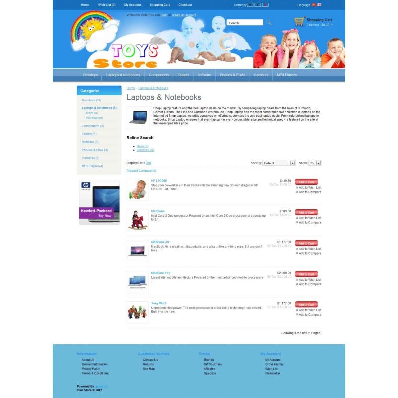 Toys Store 2 OpenCart Theme