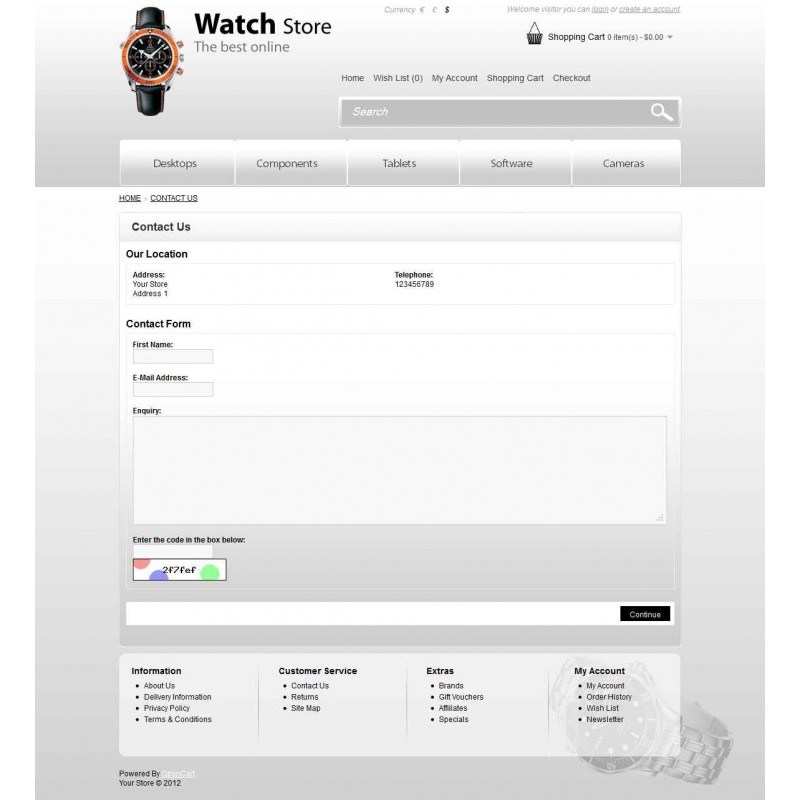 Watch Store OpenCart Theme